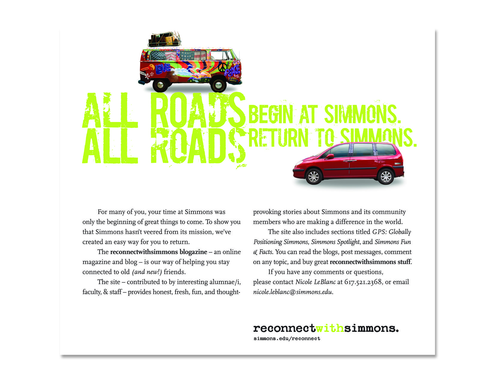 Print advertisement encouraging alumni/ae to 'reconnect' with the school.
