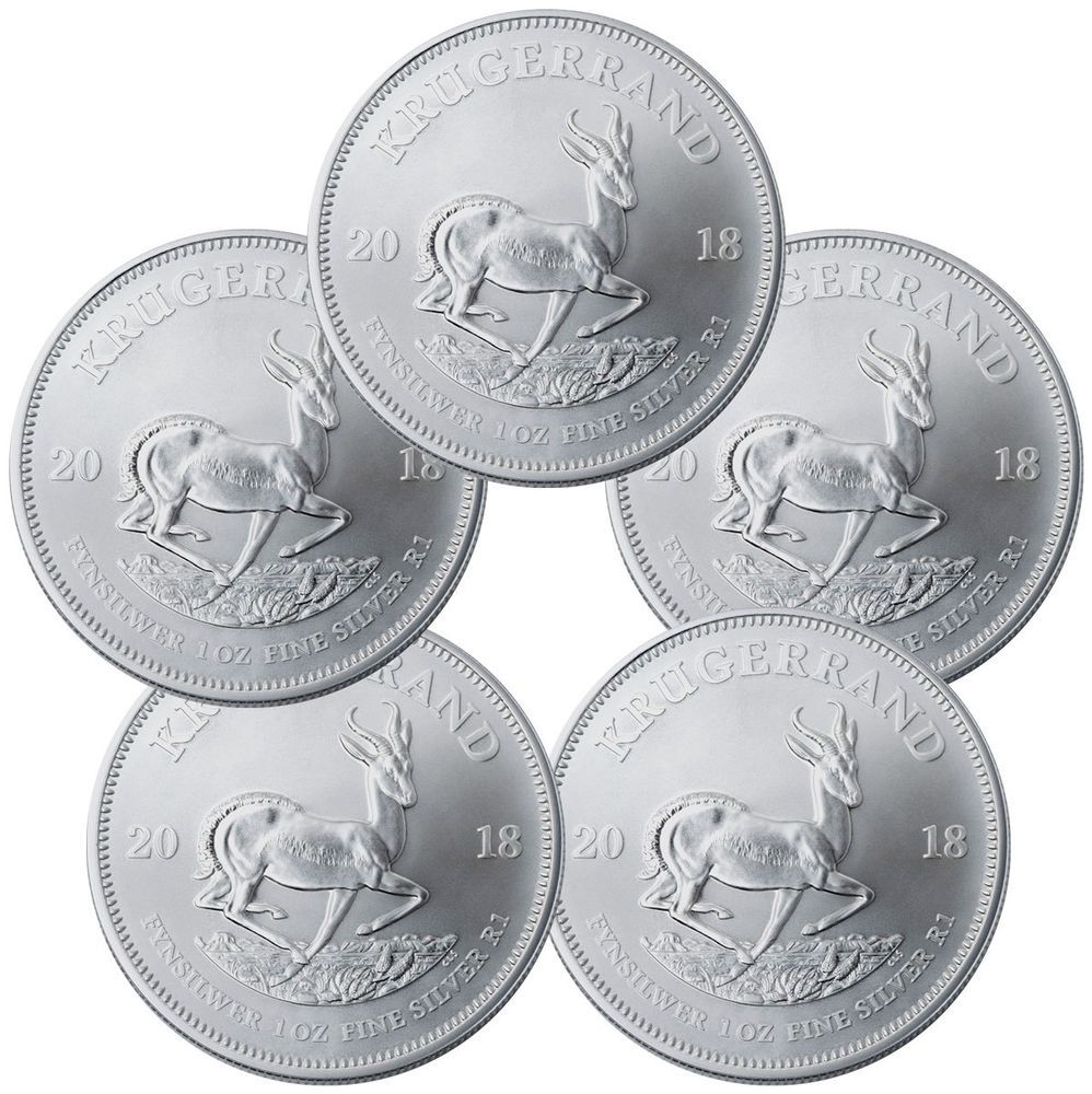 Lot Of 5 2018 South Africa 1 Oz Silver Krugerrand R1 Gem Bu Sku54745 Silver Krugerrand Bullion Silver