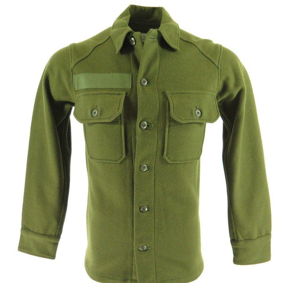 0fc9b3f4f6f0 Vintage 60s Army Wool Shirt Vietnam War Era OG-108 Military 1967 XS ...