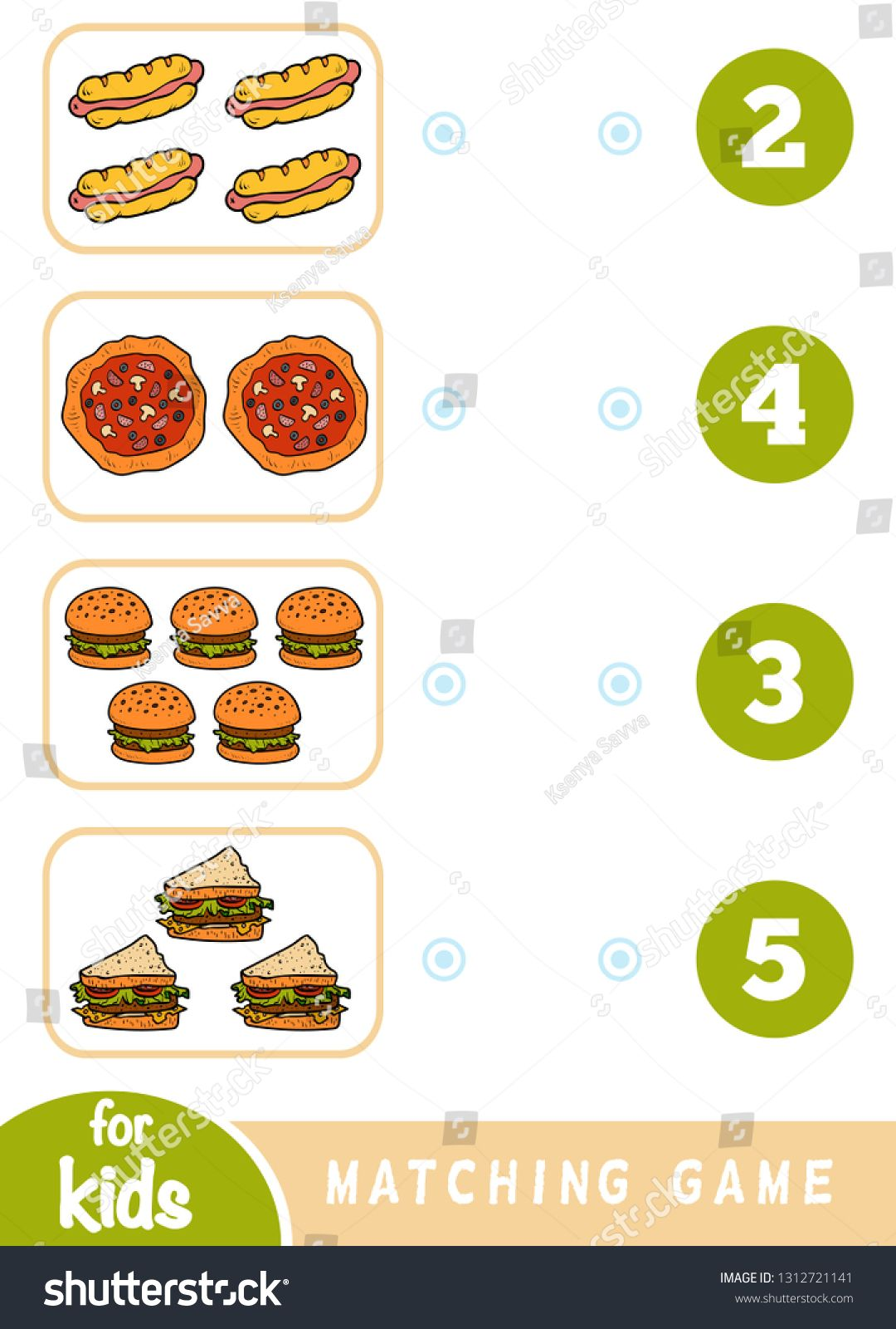Matching Education Game For Children Count How Many Items