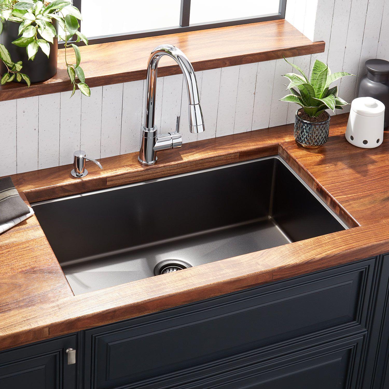 32 Atlas Stainless Steel Undermount Kitchen Sink In Gunmetal