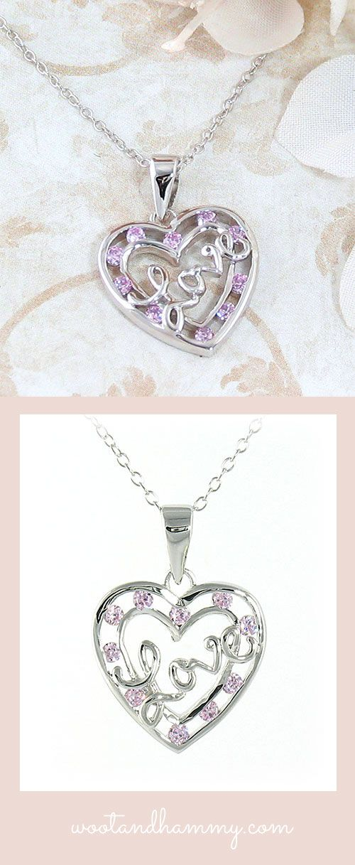 love heart necklace with pink cz crystals in sterling silver.
