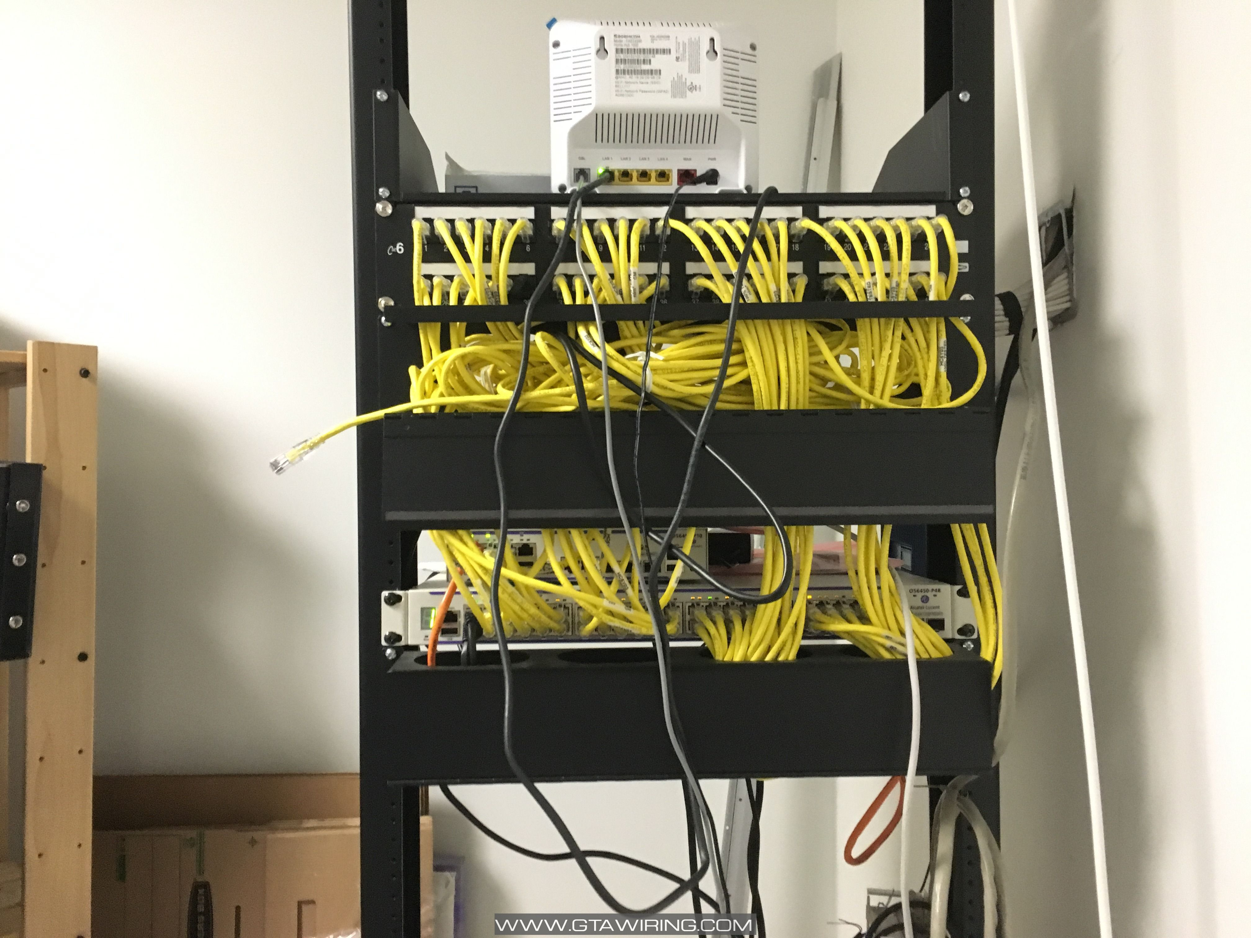 Server Rack With Internet Modem And Switch Data Voice Tv Wiring Diagram For Smc Walls Security Camera