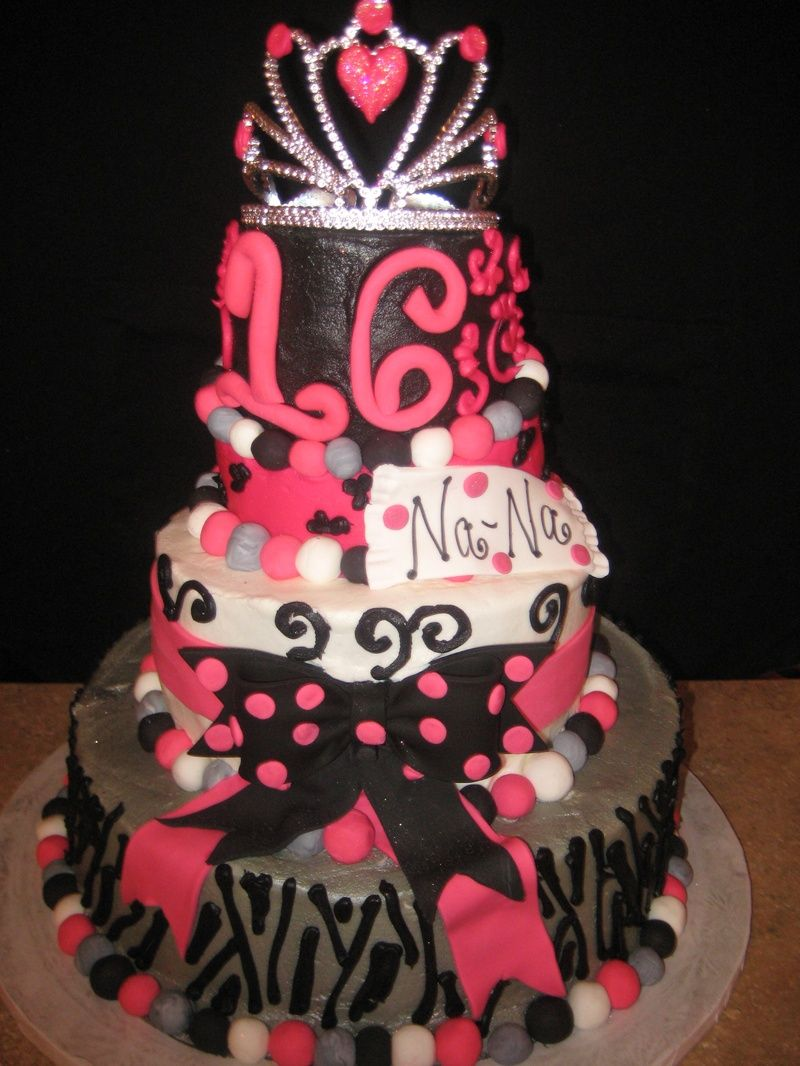 Girls Birthday Cakes Sweet  Birthday Cake Black And Pink - Sweet 16 birthday cakes