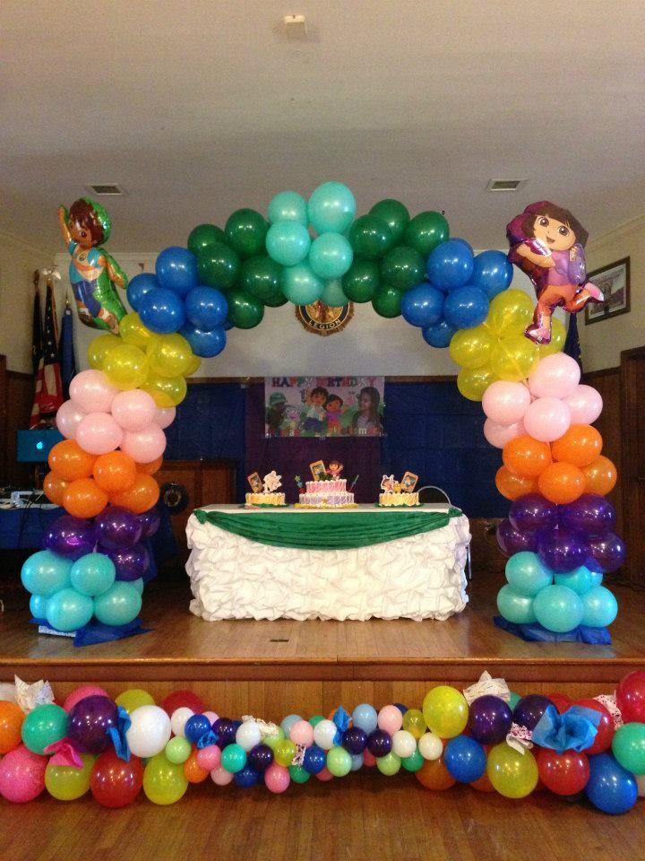 Dora U0026 Diego Birthday Balloon Decorations | Seshalynu0027s Party Ideas