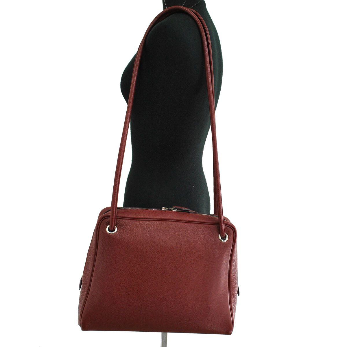 Authentic Hermes Tintin Shoulder Bag Bordeaux Silver Togo Vintage France  SN00561  c3fc35acf0c46