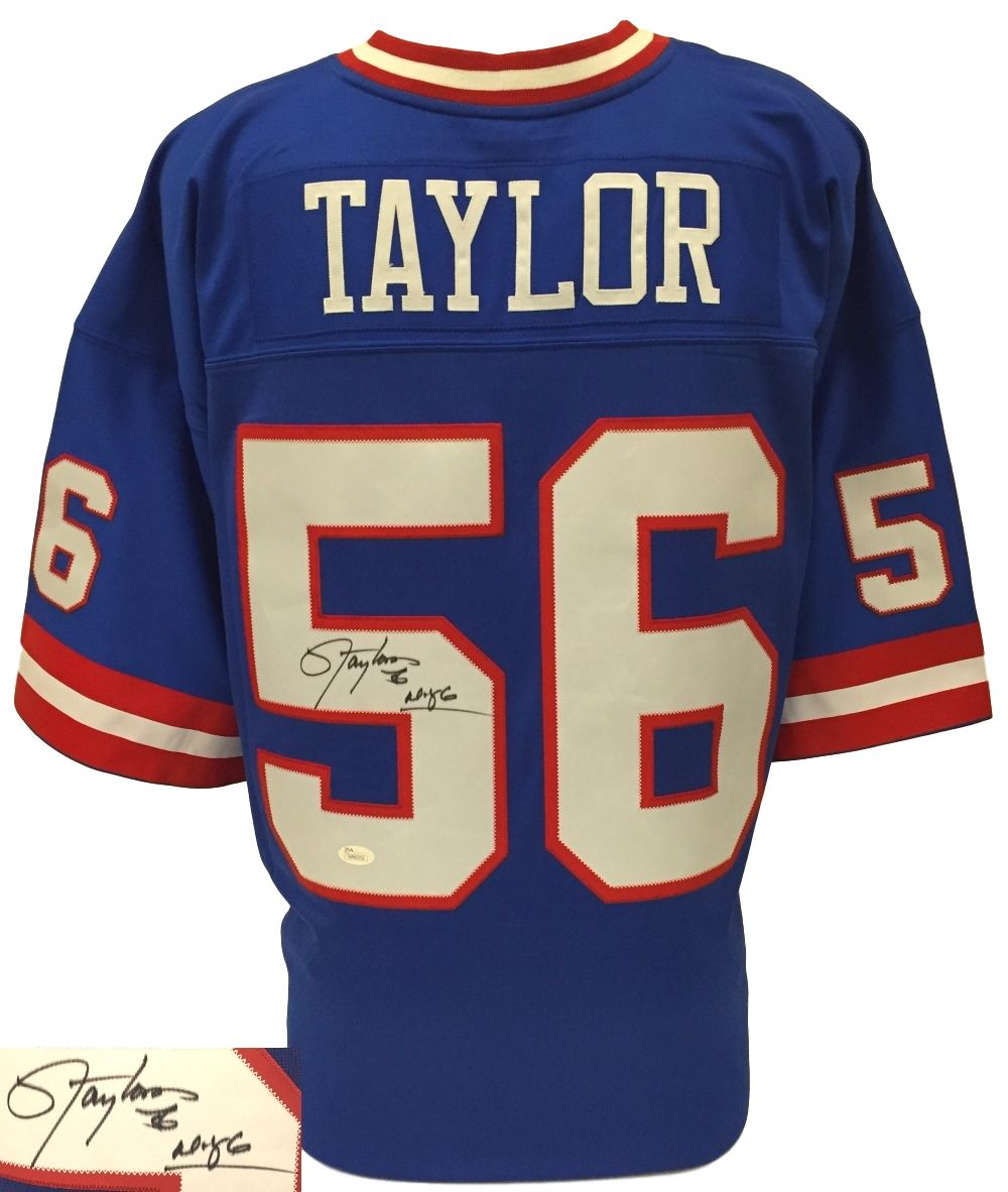 separation shoes ffc72 04a27 Lawrence Taylor Signed Giants Blue Replica Mitchell & Ness ...