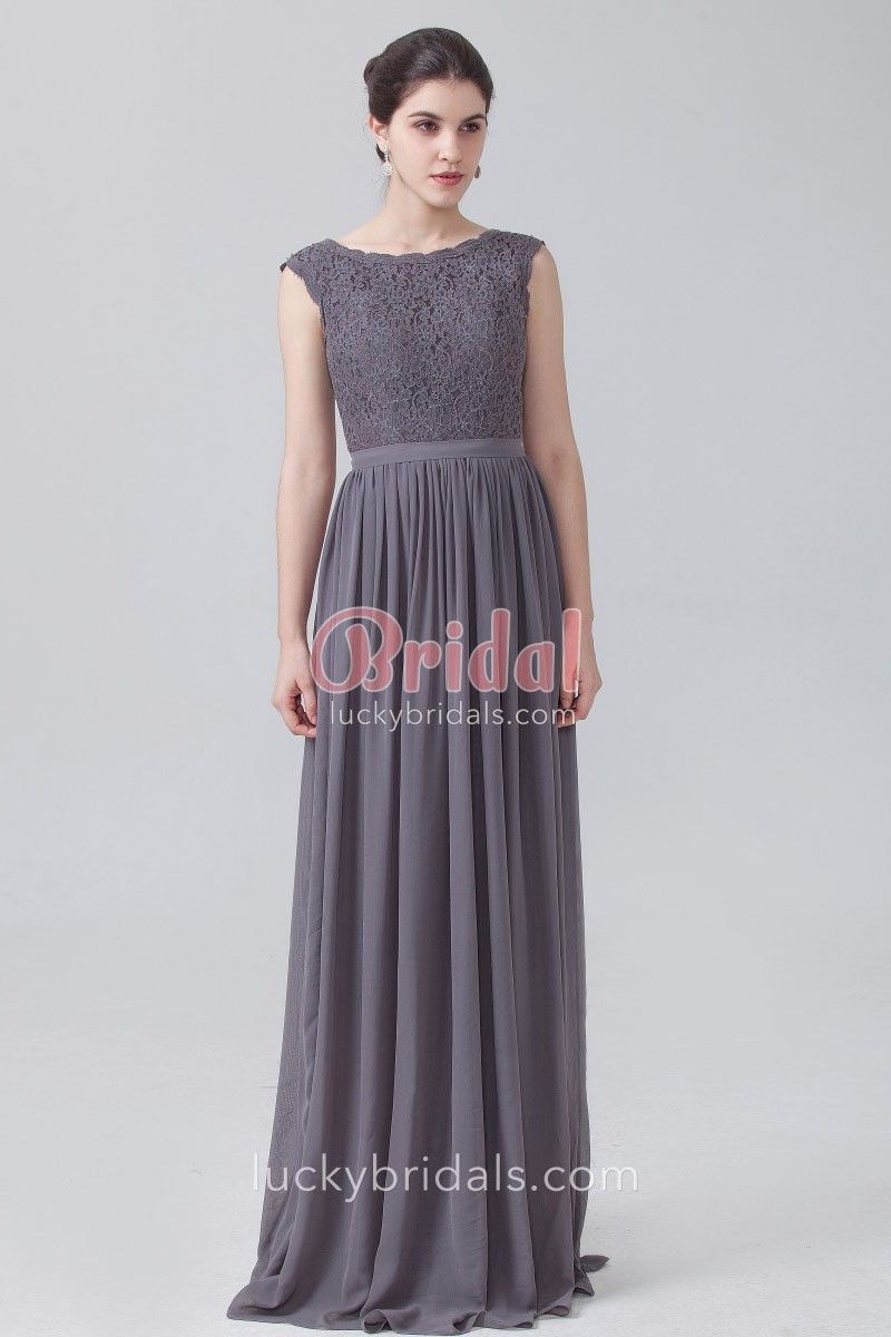 4b799dc6e405e Charcoal grey lace and chiffon vintage bridesmaid dress. Cap sleeve boat  neckline, floor length A-line long wedding guest dress.