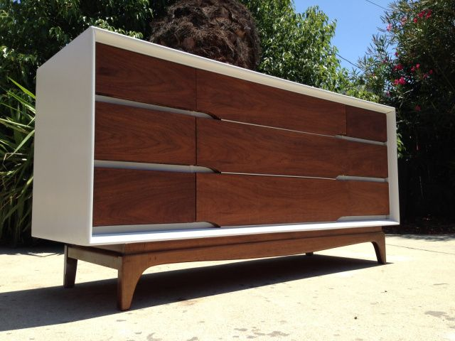 Mcm Credenza White Lacquer And Walnut Kent Coffey Entryway Table Modern Mid Century Modern Design