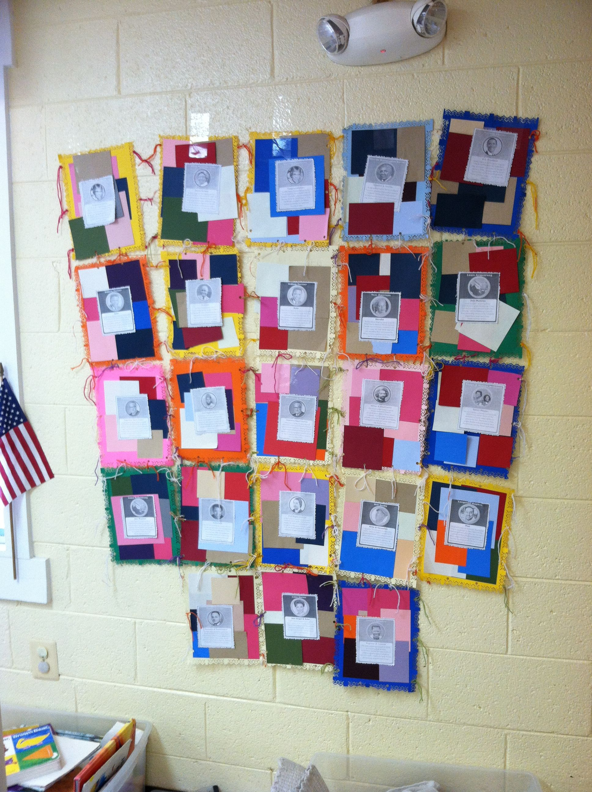 A black history month activity tied into the picture book for Patchwork quilt book