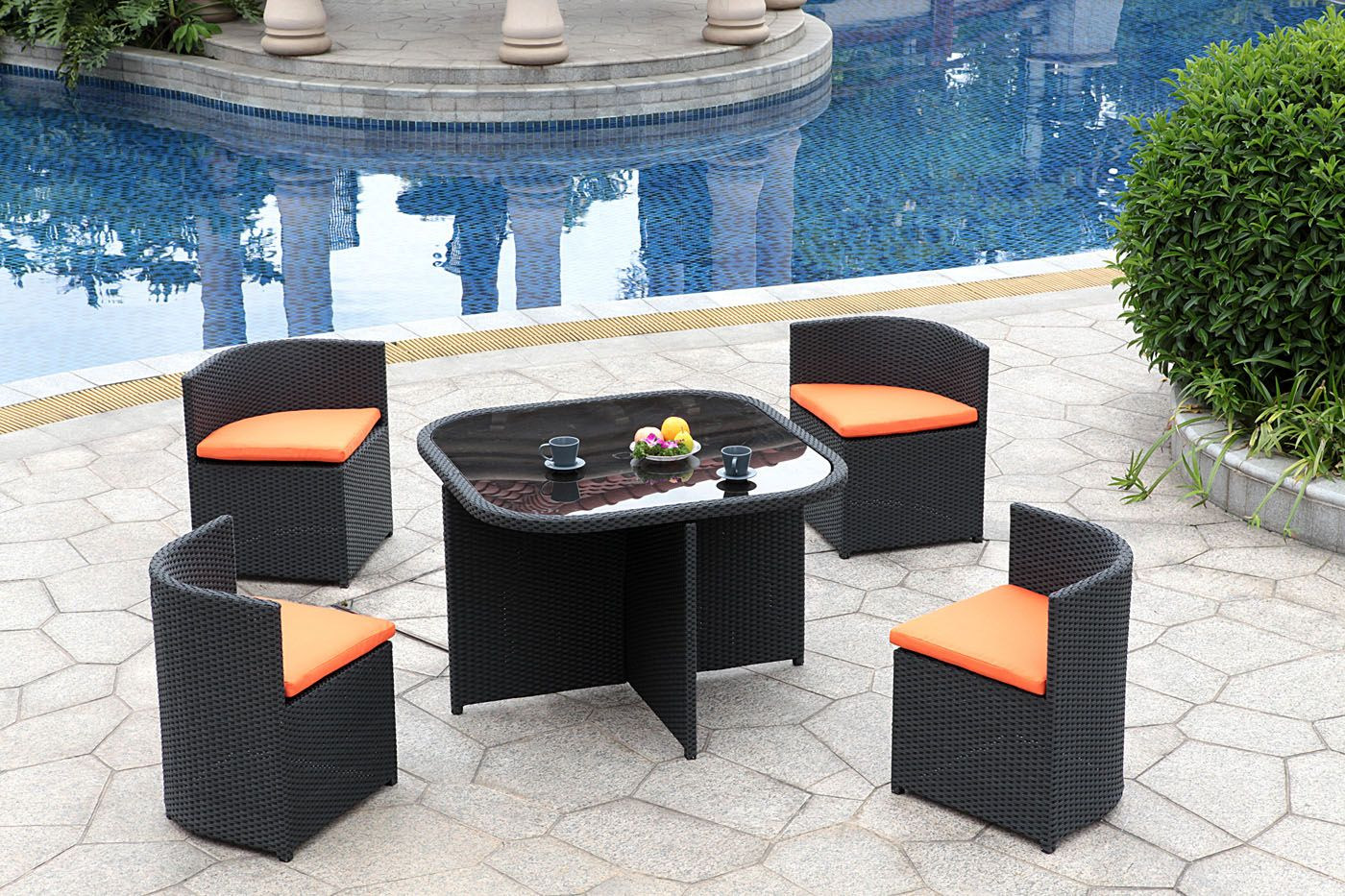 High Quality Patio U0026 Outdoor Wicker Outdoor Patio Furniture Set 5 Pc Conversation Set  Tempered Glass Top Table