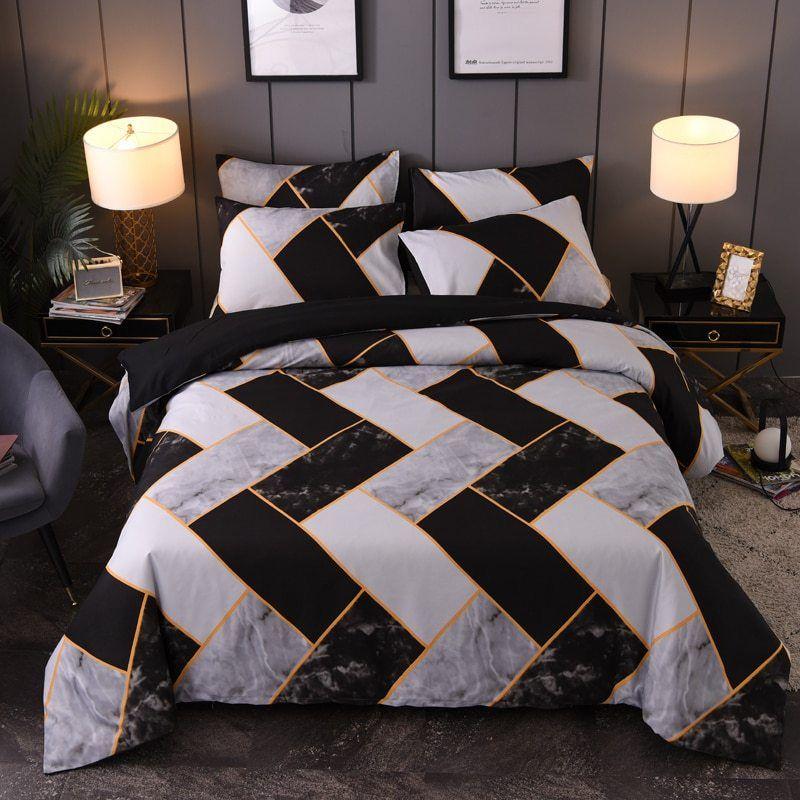 Yuxiu Black Marbling Geometric Pattern Bed Linen Simple Duvet Cover Sets 3pcs Bedding Set King Queen Single Geometric Bedding Marble Bed Set Duvet Bedding Sets