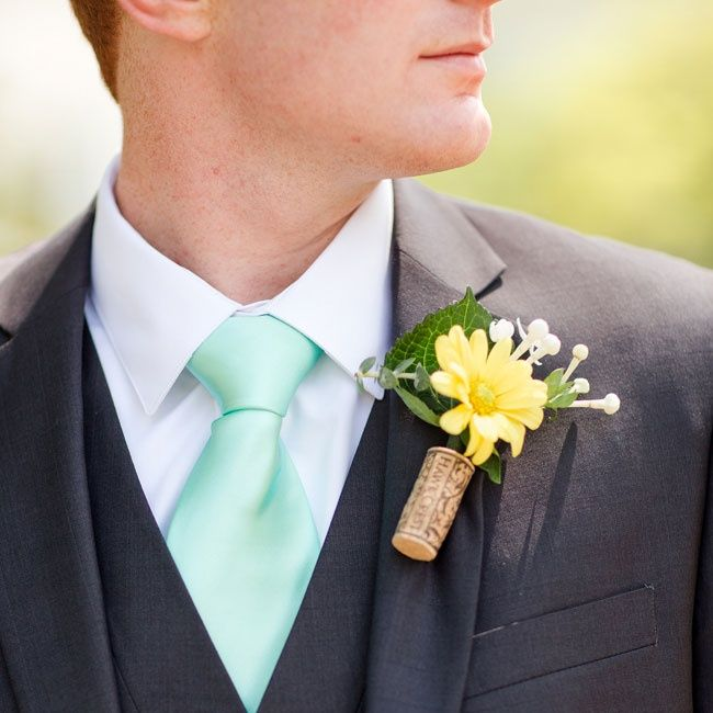 Wedding Cork Boutonniere: The DIY Yellow Daisy Boutonnieres Were Made By A