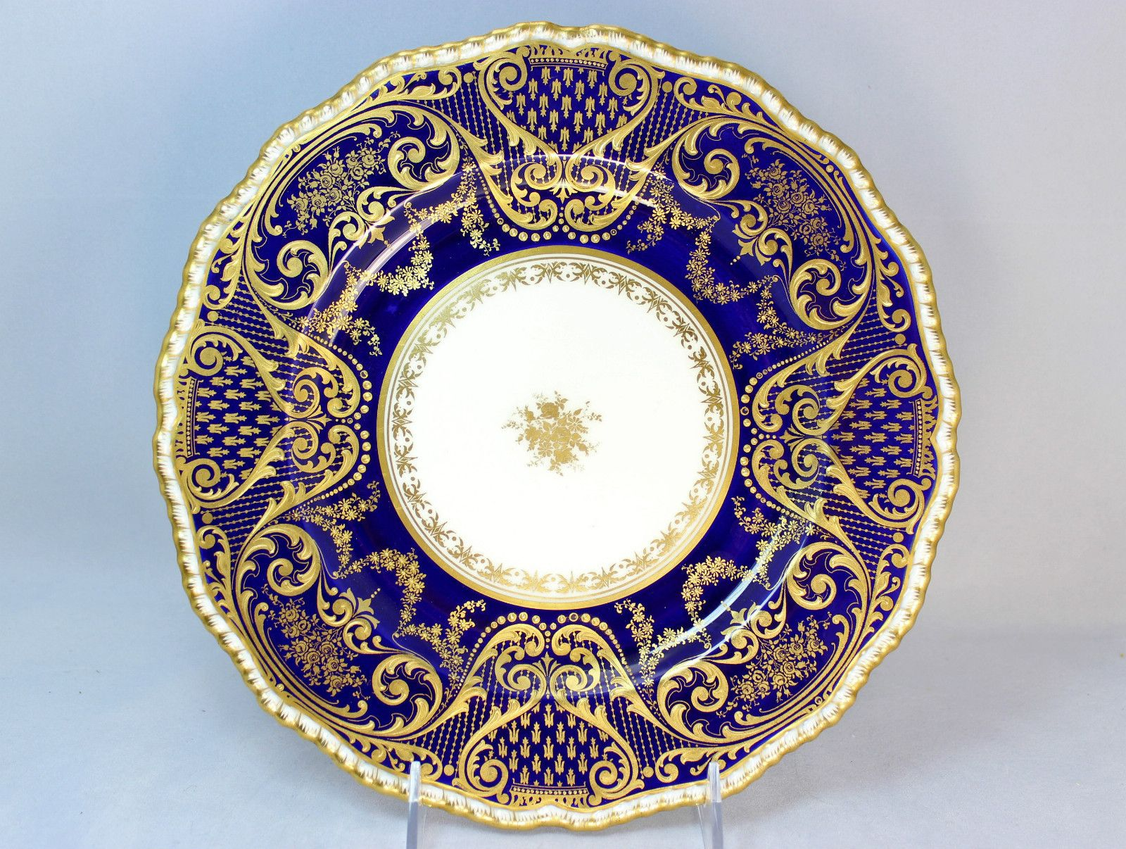 ANTIQUE ROYAL DOULTON CHINA SET 11 DINNER PLATES COBALT RAISED GOLD ENCRUSTED  sc 1 st  Pinterest : blue china dinnerware sets - pezcame.com