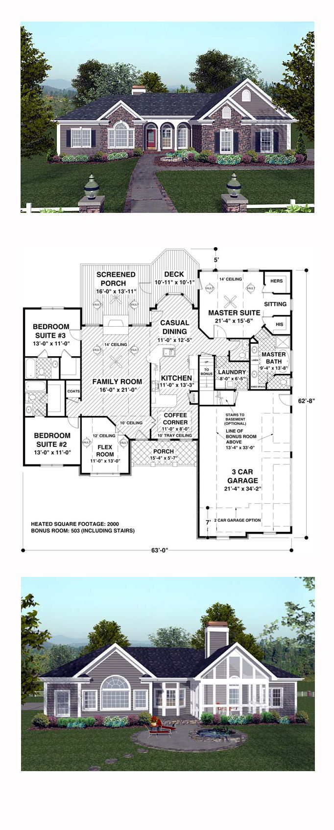 Craftsman house plan 74811 total living area 2000 sq ft for 2000 sq ft craftsman house plans