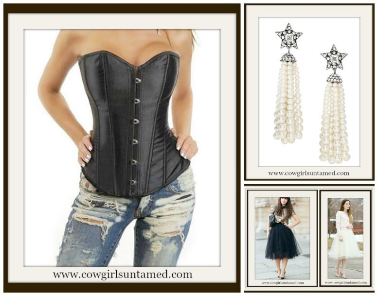 7cf7480c20 CORSET SALE!! Black Satin Lace Up Corset Top  Rhinestone Star Long Pearl  Earrings