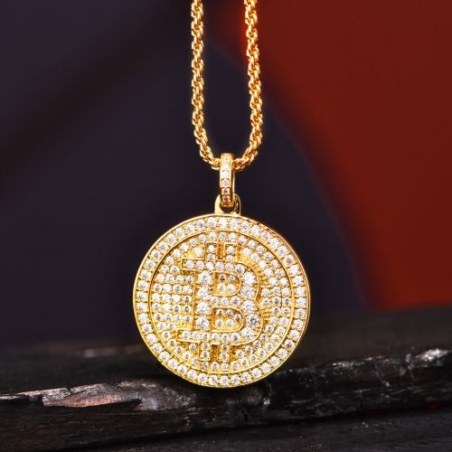 14K Gold Fully Iced Out Bitcoin Necklace Aporro Aporro Necklace
