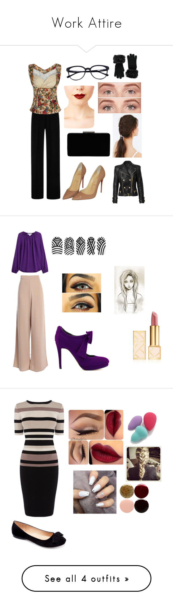 """""""Work Attire"""" by photogrpahyphreak on Polyvore featuring Clover Canyon, Christian Louboutin, John Lewis, Jeffree Star, Benefit, JEM, Forever 21, Diane Von Furstenberg, Tory Burch and Machi"""