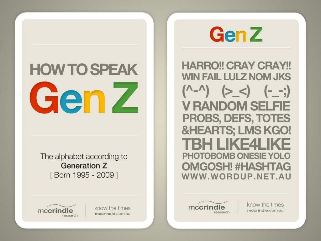How To Speak Gen Z The Alphabet According To Gen Z Mccrindle Research By Mark Mccrindle Via Slideshare Generation Z Generation Slang Language