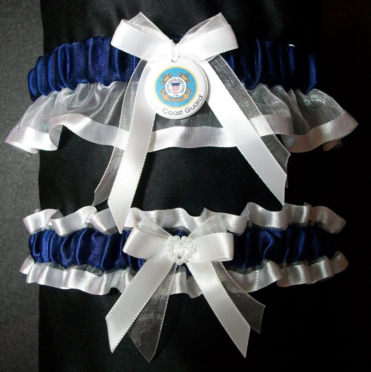 United states coast guard garter set in navy blue fabric with white