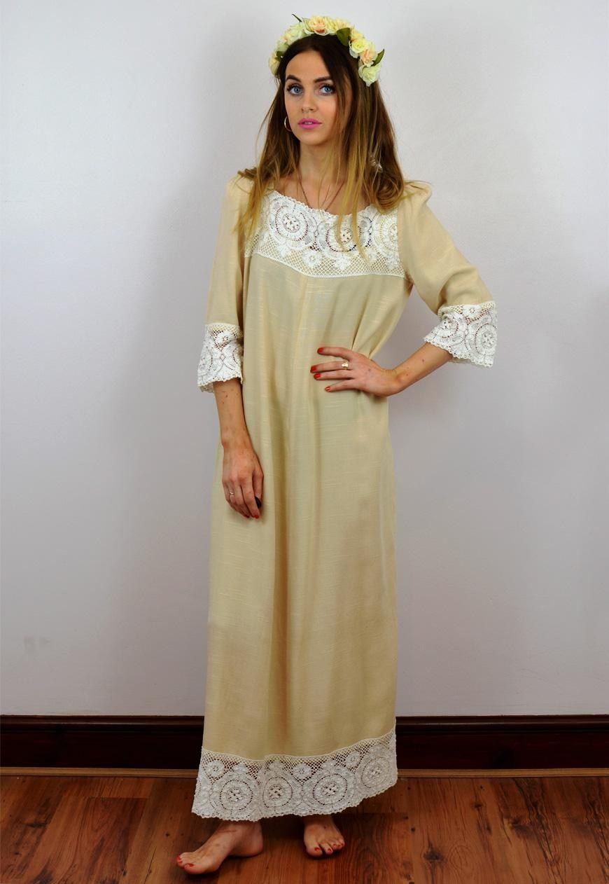 Vintage s cream linen and lace boho wedding dress dresses