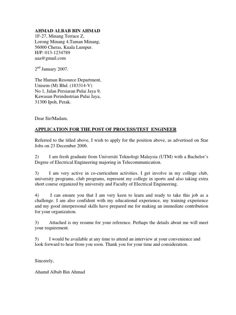 Contoh Cover Letter Resume Telecommunication Dalam Bahasa Inggris Untuk  Fresh Graduate Application