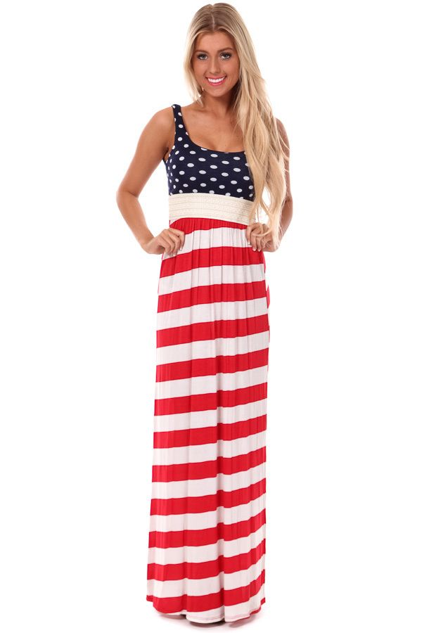 Collection Red White Blue Maxi Dress Pictures - Reikian