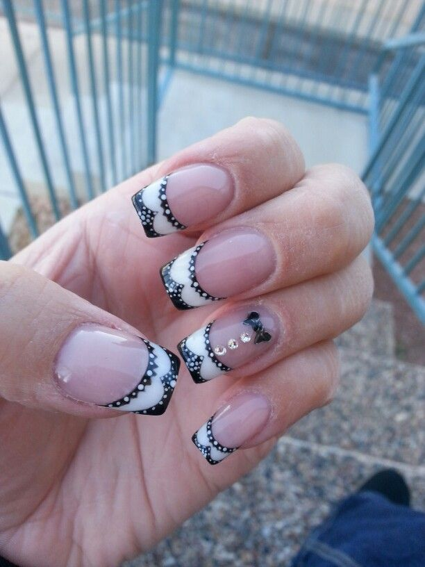 Wing tip spectators nail art on pink and white acrylic | Nail Art ...
