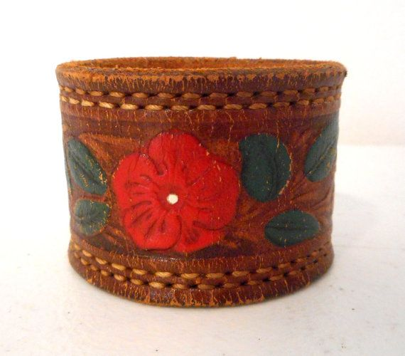 Western Floral Leather Cuff Wrist Bracelet by honeyblossomstudio