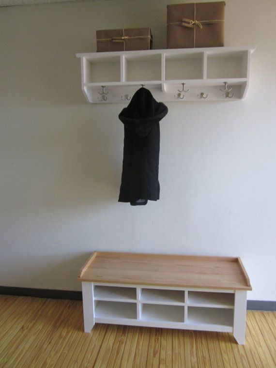 48 Entryway Bench And Shelf With Coat Hooks Rack Cubby Mudroom Laundry Room Storage Organizer