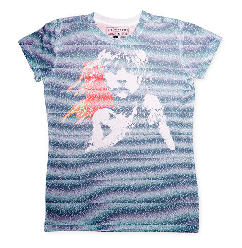Les Mis shirt from Litographs, with images all made from the words of the Hugo novel.