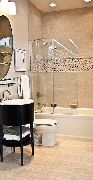 The Tile Shop Classico Beige 12 X 24 In Classico Beige Bullnose 2 X 12 In Butera With Glass 12 X 12 In Small Bathroom Tiles Beige Bathroom Tile Bathroom