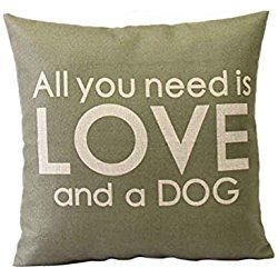 LeiOh Decorative Cotton Linen Square Unique Printed All you need is LOVE and a DOG Pattern Throw Pillow Case Cushion Cover 18 x 18 Inches
