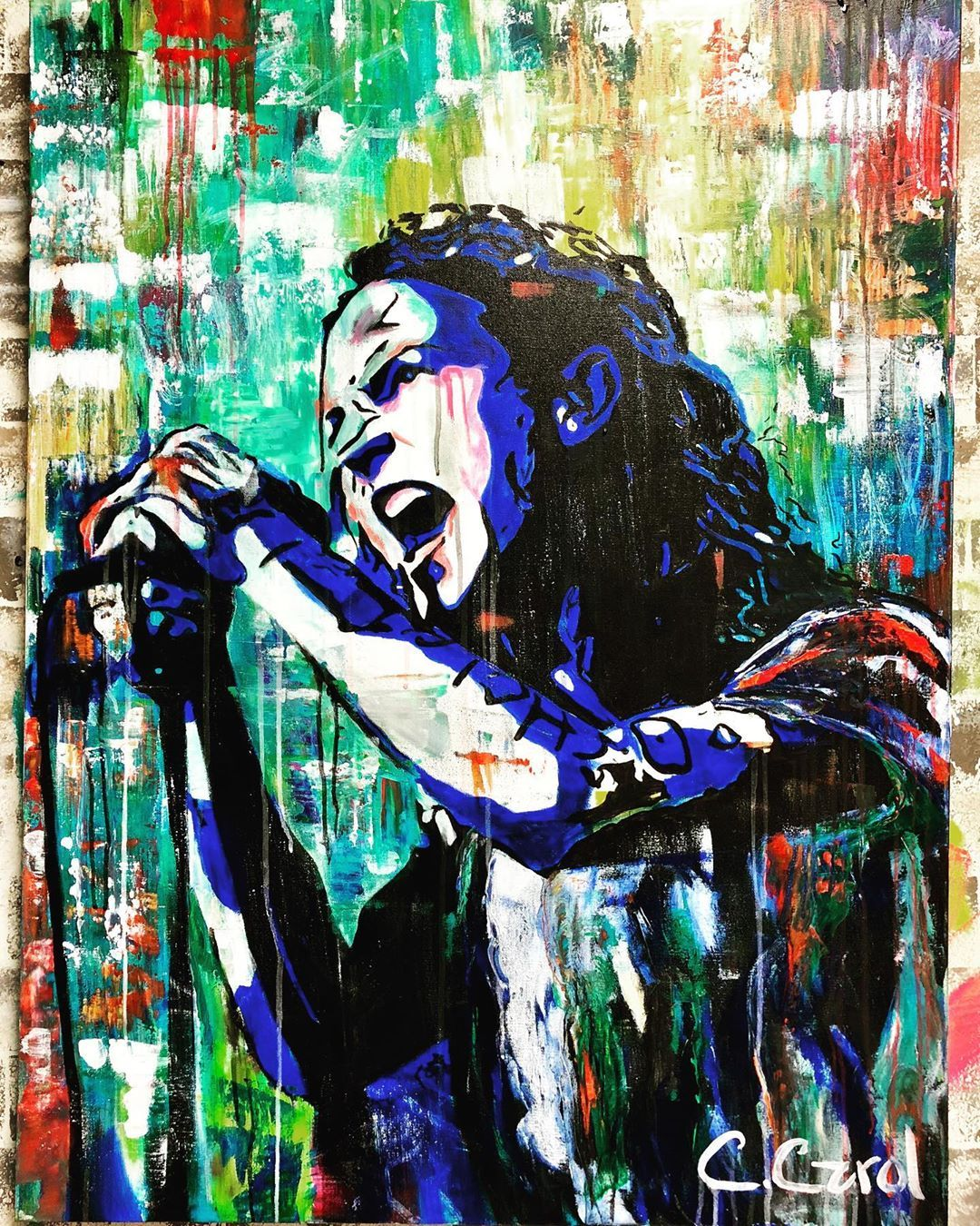 Eddie Vedder Painting By Artist Chelsea Carol On Instagram I Know I Was Born And I Know That I Ll Die The Abstract Expressionism Art Art Original Paintings