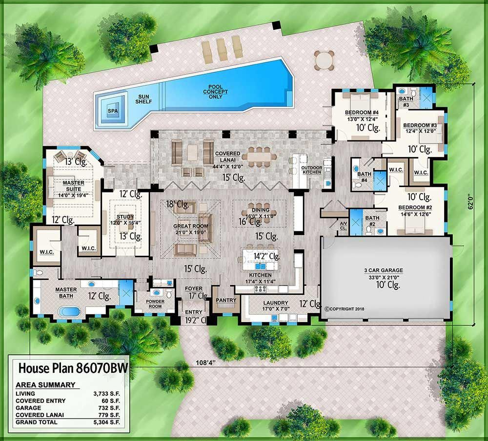 Holy Cow I Love This Stunning 4 Bed One Story Home Plan For Indoor Outdoor Lifestyle 86070bw Contemporary House Plans One Story Homes House Plans One Story