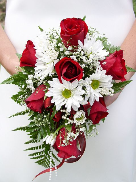 Red Rose And White Daisy Bouquet Red Bouquet Wedding Rose