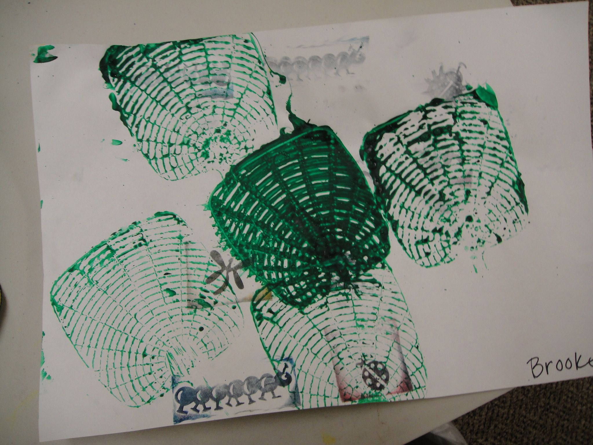 BUGS! ink stamped bugs with fly swatters dipped in paint and swatted!