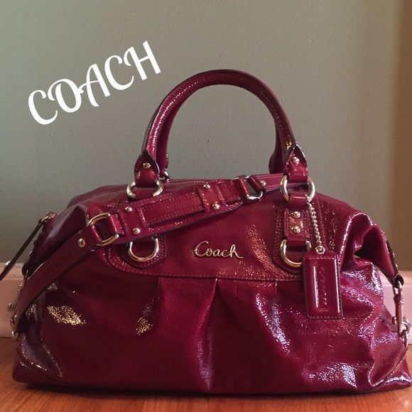 Coach Ashley Patent Leather Satchel Perfect Condition!!! The largest Ashley.  Beautiful Red color w  polished silver hardware. Coach logo on front and  hang ... b967c6cd537a3