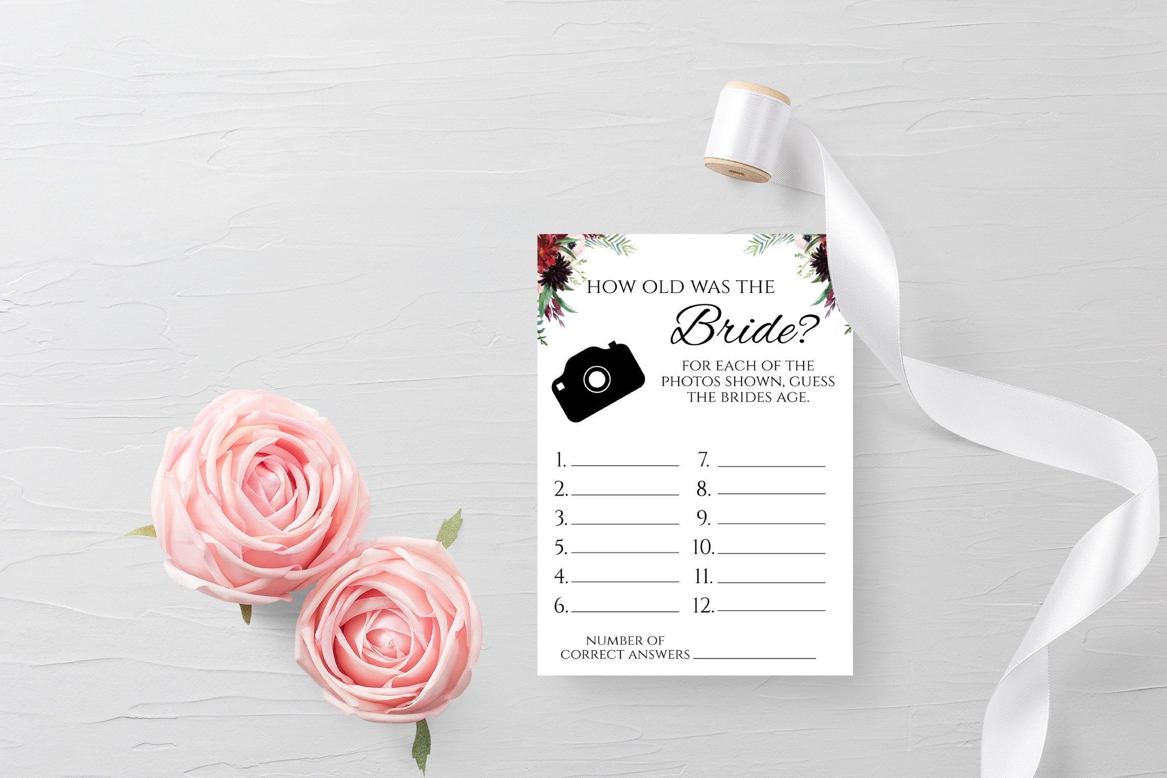 Editable Bridal Shower How Old Was The Bride Game || Bridal Wedding Couples Shower || Engagement Party || Printable Instant Download #engagementpartyideasdecorations