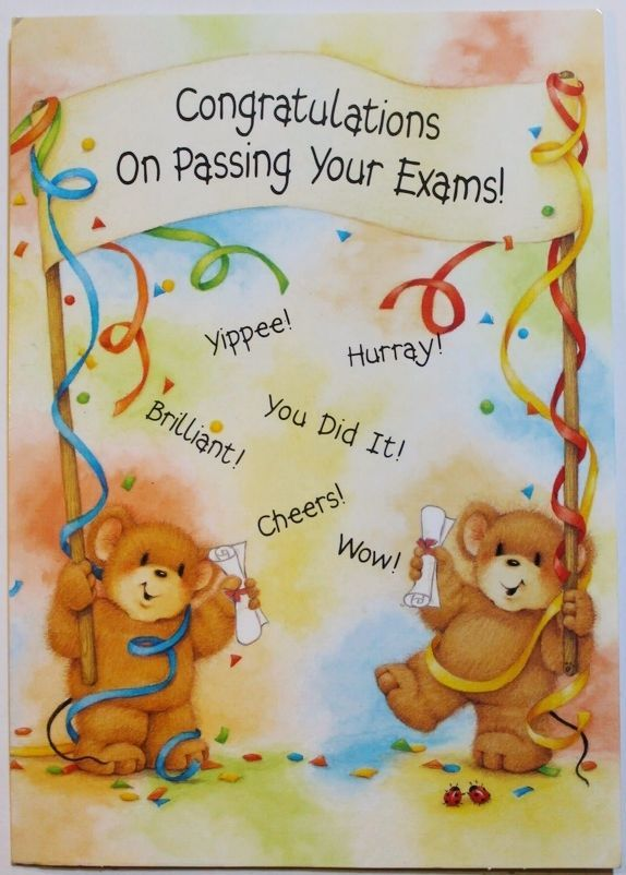 Congratulations on passing your exams! card  envelope, celebration