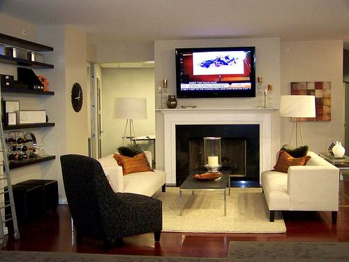 Living Room Furniture Arrangement With LCD TV And Fireplace Lanewstalk