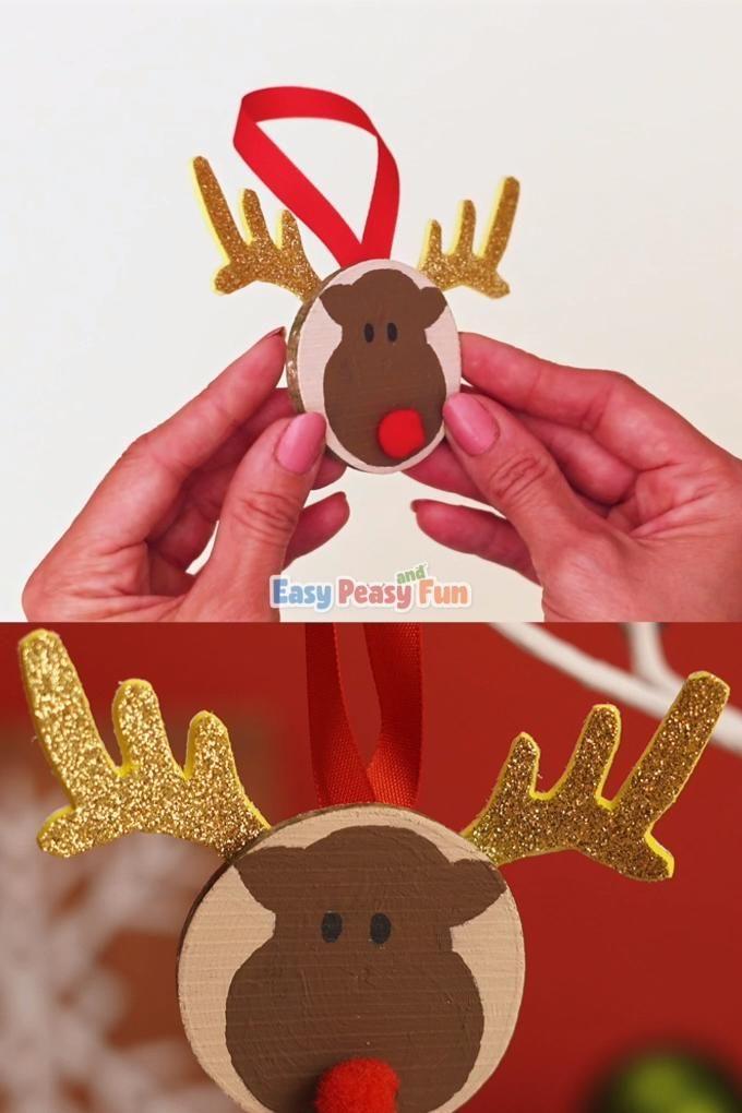 Photo of Reindeer Wooden Slice Ornaments