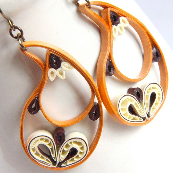 Paisley Indian Earrings in Golden Orange Ivory and by HoneysHive, $35.00