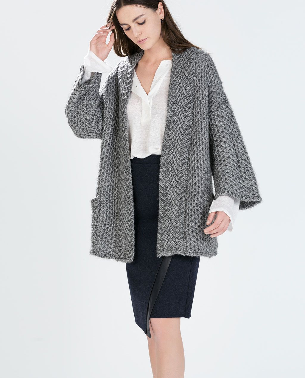 KNIT CARDIGAN WITH POCKETS from Zara 100 | Materials | Pinterest ...