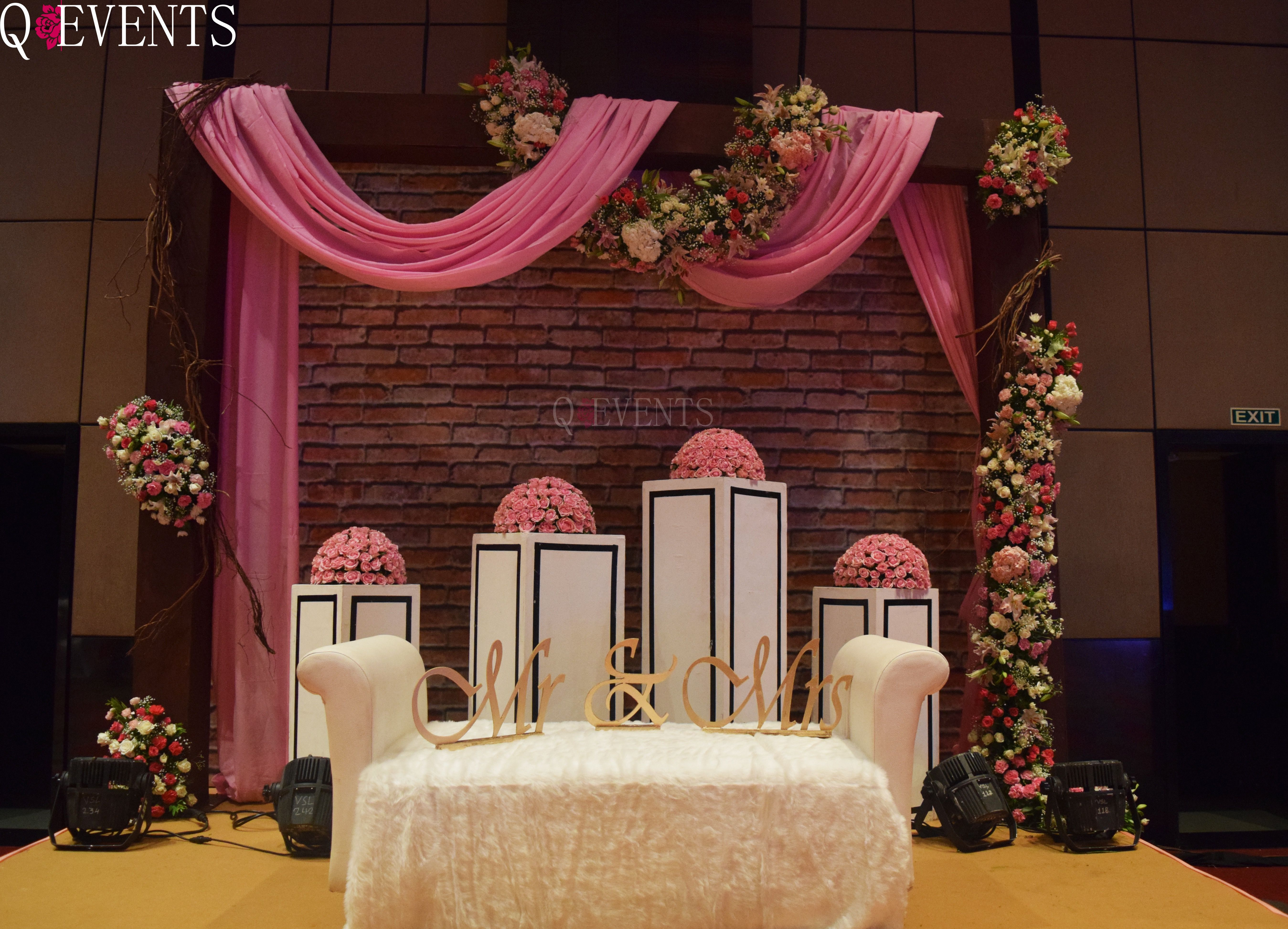 Vintage themed backdrop for a couple sit out, at their reception