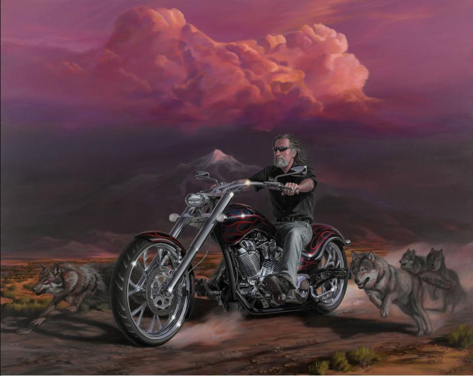 Открытка волк на мотоцикле