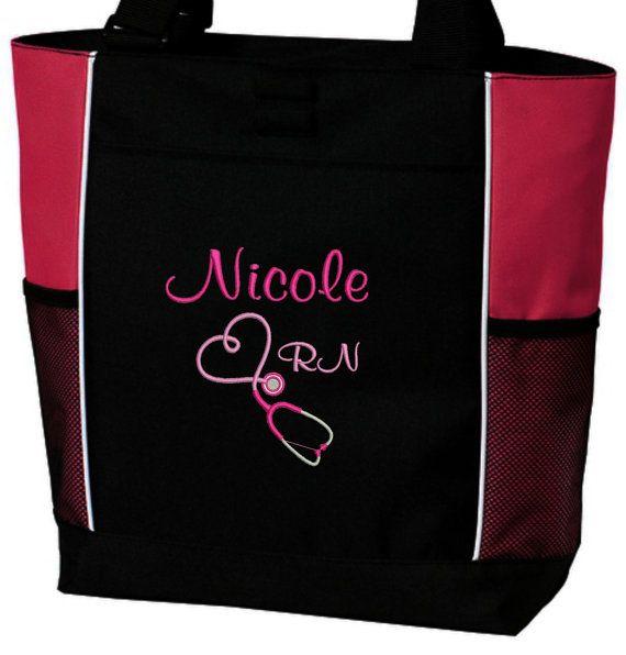 Tote Bag Personalized Nurse Student Rn Bsn Cna Lvn Lpn Nicu Cardiac Respiratory Care Er Department Nursing Free Syringe Pen On Etsy 30 00