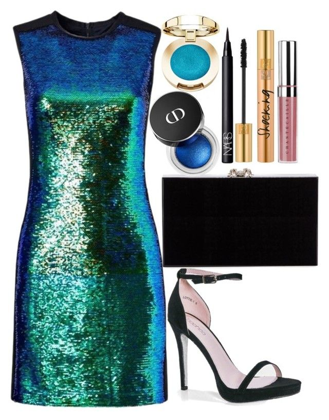 """""""Untitled#1533"""" by mihai-theodora ❤ liked on Polyvore featuring Shoshanna, Boohoo, Charlotte Olympia, NARS Cosmetics, Yves Saint Laurent and Chantecaille"""