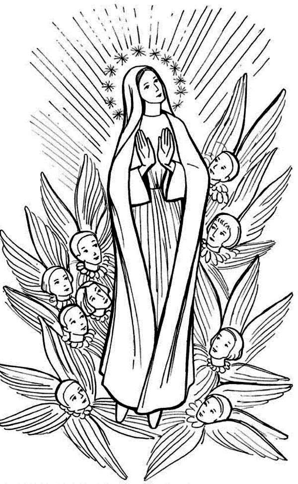 Catholic Coloring Pages Of Mary Google Search Blessed Virgin