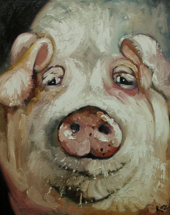 Pig painting 40 16x20 inch animal portrait original oil by RozArt, $170.00